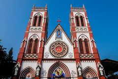 Facade of catholic church in Pondicherry royalty free stock images
