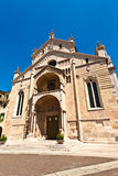 The facade of the catholic middle ages romanic cathedral iof San Royalty Free Stock Images