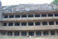 The facade of Cave No 12, Ellora Caves, India stock photography