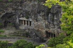 Facade of caves 5 , 6, 7, Aurangabad caves, Eastern Group, Aurangabad, Maharashtra, India royalty free stock photography