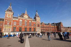 Facade of central railroad station in Amsterdam Royalty Free Stock Image