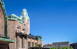 Facade of the Central Railway Station of Helsinki (Finland), dec Royalty Free Stock Photography