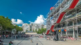 Facade of the Centre of Georges Pompidou timelapse in Paris, France. The Centre of Georges Pompidou is one of the most famous museums of the modern art in the stock video