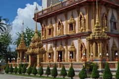 Facade of Chalong temple Phuket Thailand. Exterior of Chalong Temple Phuket Thailand Royalty Free Stock Photo