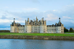 Facade of Chambord chateau at sunset, France Stock Images