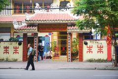 Facade of Chinese pagoda in Vietnam Stock Photo