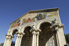 Facade of the Church of all Nations. The Church of All Nations also known as the Basilica of the Agony.  It is a Roman catholic church located on the Mount of Stock Photo
