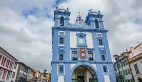 Facade of church in Angra do Heroismo, Island of Terceira, Azores Royalty Free Stock Image