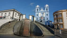 Facade of church in Angra do Heroismo, Island of Terceira, Azores. Wide angle view of stairs and church in Angra do Heroismo, Island of Terceira in Azores stock photography