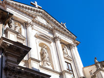 Facade of church Chiesa di San Gateano Thiene. Travel to Italy - facade of church Chiesa di San Gateano Thiene The Teatini in Vicenza city in spring stock photography