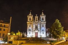 Facade of Church of Saint Ildefonso in Porto city, Portugal. Night view of facade of Church of Saint Ildefonso Igreja Paroquial de Santo Ildefonso in old center royalty free stock images