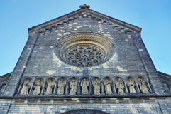 Landmark attraction in Prague: Facade of Catholic Church of Saints Cyril and Methodius - Czech Republic. Landmark attraction in Prague: Detail of the facade of Royalty Free Stock Image