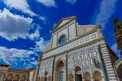 Facade of the Church of Santa Maria Novella in the historic cent royalty free stock photo