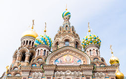 Facade of the Church of the Savior on Spilled Blood. In Saint-Petersburg, Russia Royalty Free Stock Photography