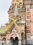Facade of the Church of the Savior on Spilled Blood. In Saint-Petersburg, Russia Stock Images