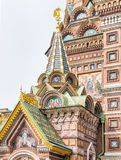Facade of the Church of the Savior on Spilled Blood. In Saint-Petersburg, Russia Royalty Free Stock Photo