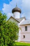 Facade of Church of Simeon the God Receiver in Veliky Novgorod, Russia. Church of Simeon the God Receiver in Zverin Pokrovsky Monastery, Veliky Novgorod, Russia Stock Images