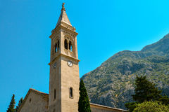 The facade of the church of St. Eustace. In Dobrota, Montenegro Stock Image