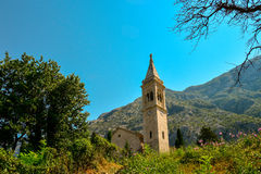 The facade of the church of St. Eustace. In Dobrota, Montenegro Royalty Free Stock Photography