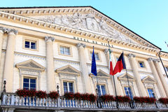 Facade of the City Hall of Aosta, Italy. The Emile Chanoux Square in the Italian city of Aosta is considered as the living room of the city, dominated by the Royalty Free Stock Image