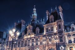 Facade of the city hall in Paris Stock Image