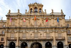 Facade of city hall in Salamanca Royalty Free Stock Photos