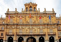 Facade of city hall in Salamanca /hdr/ Royalty Free Stock Images