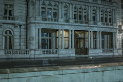 Facade of classical architecture building at night Stock Photography