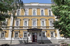 Facade of Classical gymnasium named after Vissarion Belinsky in Royalty Free Stock Photo