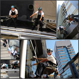 Facade Cleaning - Collage. Collage of photographs showing workers washing the windows facade of a modern office building Stock Photo