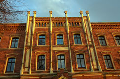 Facade clinker brick townhouse. In Jawor in Poland Stock Photos