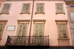 Facade with windows. The facade with closed windows Royalty Free Stock Photography