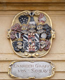 Facade coat of arms on the Landhaus historic center listed as World Heritage by UNESCO in Graz. Styria, Austria stock photography