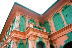 Facade of a Colonial Bungalow. Facade of a colourful British colonial era bungalow in Malaysia Stock Images
