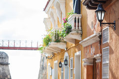 Facade of a colonial house. In Cartagena de Indias Stock Photo
