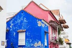 Facade of a colonial house. In Cartagena de Indias Stock Photography