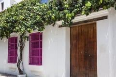 Facade of a colonial house. In Cartagena de Indias Royalty Free Stock Image