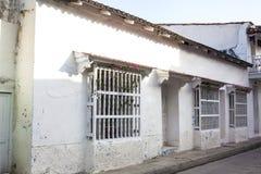Facade of a colonial house. In Cartagena de Indias Royalty Free Stock Photos