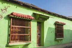 Facade of a colonial house. In Cartagena de Indias Stock Image