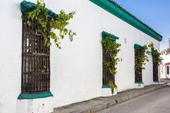 Facade of a colonial house. In Cartagena de Indias Royalty Free Stock Photography