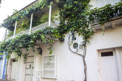 Facade of a colonial house. In Cartagena de Indias Royalty Free Stock Photo