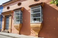 Facade of a colonial house. In Cartagena de Indias Stock Photos