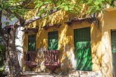 Facade of a colonial house. In Cartagena de Indias, Colombia Stock Photography