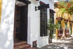 Facade of a colonial house. In Cartagena de Indias, Colombia Stock Photo