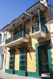 Facade of a colonial house. In Cartagena de Indias, Colombia Stock Photos