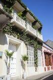Facade of a colonial house. In Cartagena de Indias, Colombia Royalty Free Stock Photo