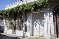 Facade of a colonial house. In Cartagena de Indias, Colombia Royalty Free Stock Photography
