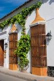 Facade of a colonial house. In Cartagena de Indias, Colombia Stock Images
