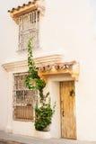 Facade of a colonial house. In Cartagena de Indias, Colombia Royalty Free Stock Image