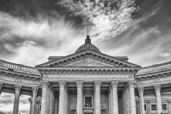 Facade and colonnade of Kazan Cathedral in St. Petersburg, Russi Stock Photos